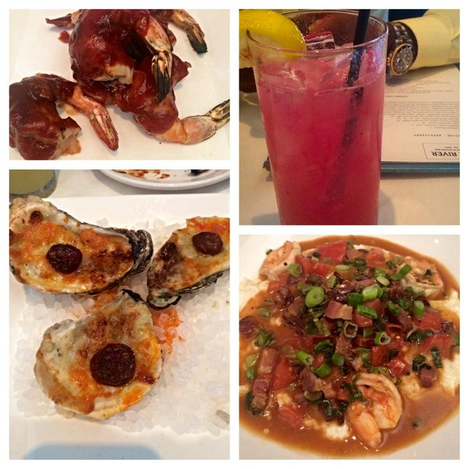 ?? BBQ bacon wrapped shrimp,fire roasted oysters w cheese&chorizo,shrimp&grits n of course a blueberry