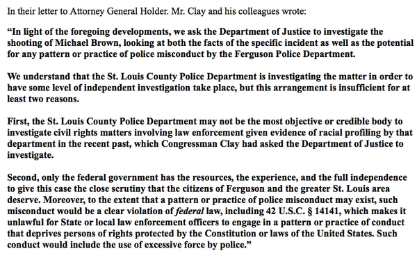". @LacyClayMO1 says STL County Police investigation of #MikeBrown shooting is ""insufficient:"" http://t.co/4ODfSCKbw4"