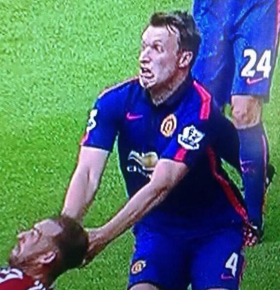 Phil Jones pulled another epic face as Jack Rodwell levelled for Sunderland v Man United