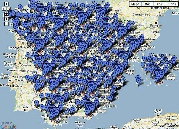Mapa marcado con cada uno de los casos de corrupción del PP