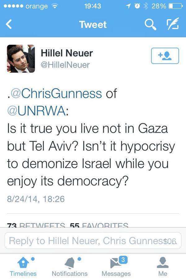 Wait... What??? @ChrisGunness of @UNRWA , u live in #TelAviv ??