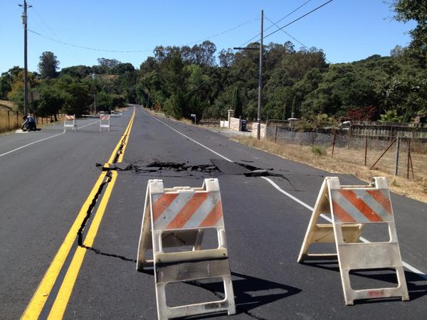 "Fixed! RT @andeswines: ""@NVRkerana: Old Sonoma Road near #Napa is among the roads that buckled  http://t.co/Yd7REU8K9C"" #napaearthquake"