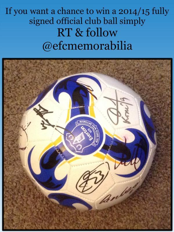 #WIN a fully signed 2014/15 #EVERTON ball 2 enter just RT & #FOLLOW @efcmemorabilia #nsno #bluekipper #sos1878 #coyb http://t.co/G5BFLa9n4o