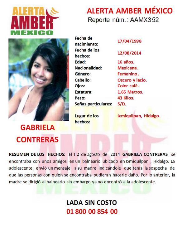 Por favor les pido nos ayuden a difundir esta información. Activación de #AlertaAmber por la menor GABRIELA CONTRERAS http://t.co/C6dfY4hXfJ