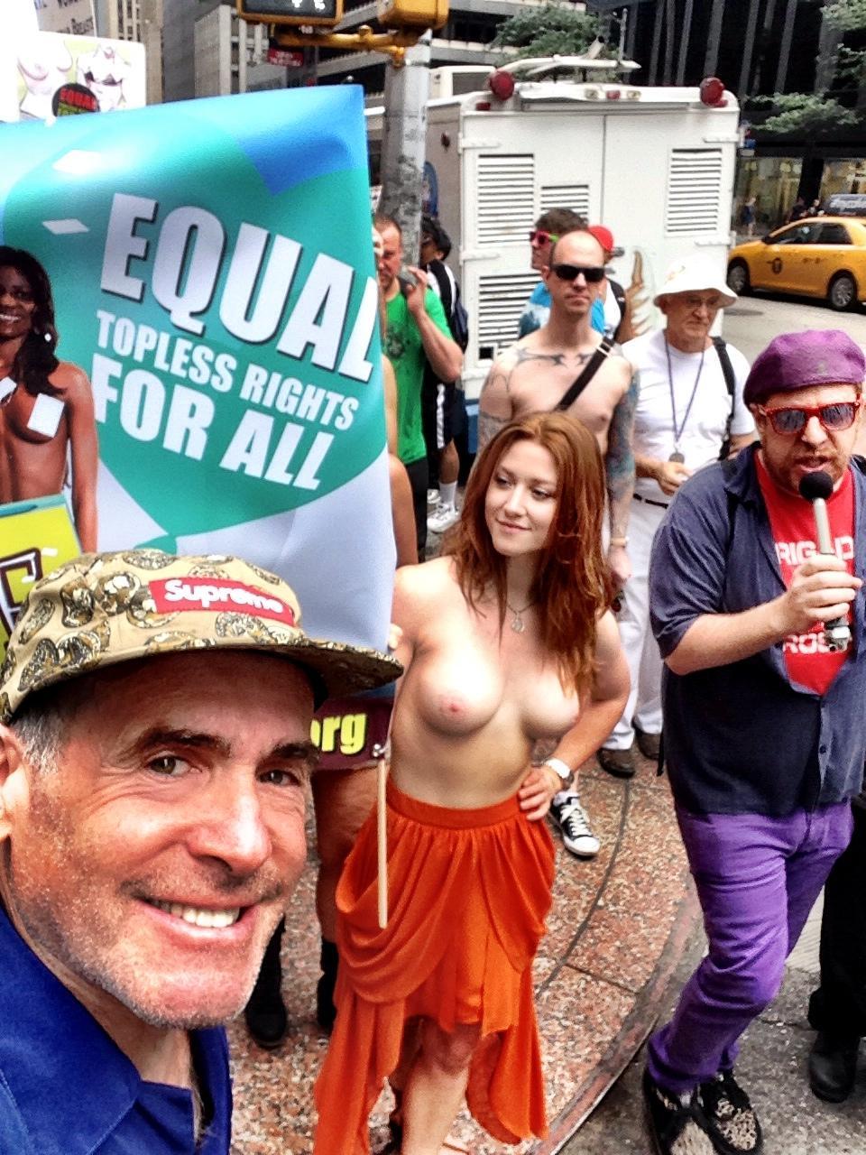 Girl topless public new york