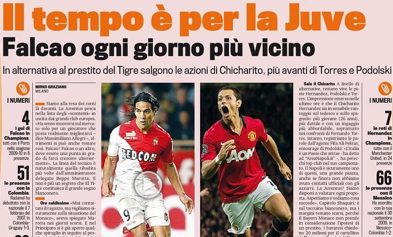 Juventus want to sign Monacos Radamel Falcao. Plan B is Man Uniteds Chicharito [Gazzetta Dello Sport]