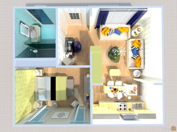 "Planner 5D on Twitter ""538 square feet yellow blue studio"