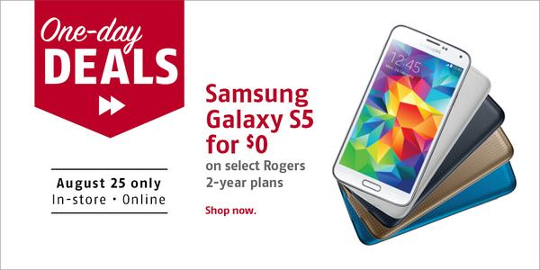 One-day DEALS! Get a Samsung Galaxy S5 for $0 on select Rogers 2-year plans! http://t.co/WnOpqttp1p #FutureShopping http://t.co/Z5Tkegn5D4