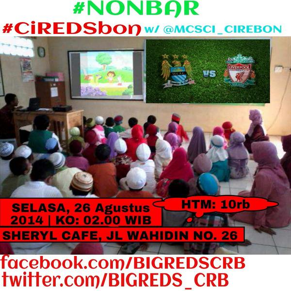 #nobar #CiREDSbon @BIGREDS_CRB w/ @MCSCI_CIREBON #MalemIni #Tonight @SherylCafe234 Be There luds. http://t.co/zJHvtDsNK4