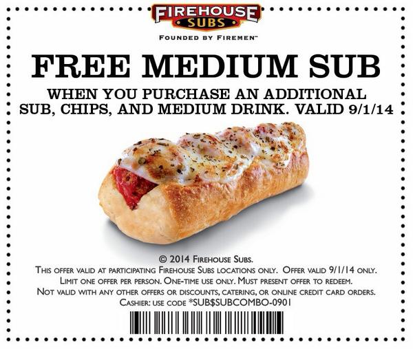 Hold on to this for Labor Day: Free medium sub when you buy a sub, chips and drink! http://t.co/8s6ZM0k21R