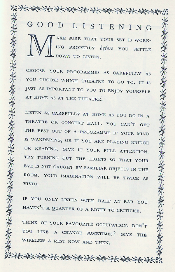 """If you only listen with half an ear, you haven't a quarter of a right to criticise."" (BBC Year Book 1940) http://t.co/aawG3Yr7jc"