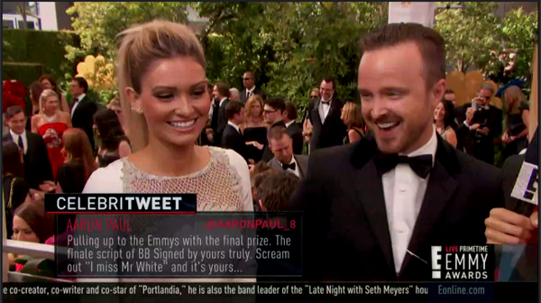 The final clue in Aaron Paul's scavenger hunt is at the actual #Emmys2014 http://t.co/OtdUvtfTPz