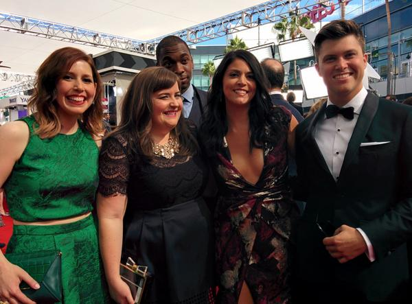 Welcome to the Right Coast @nbcsnl... ;) @aidybryant @JayPharoah @TheColinJost @vanessabayer #Emmys #RedCarpet http://t.co/OeMMCBCdiv