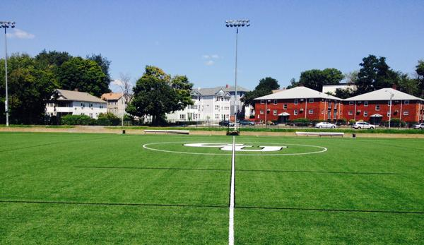 the granger field with school logo