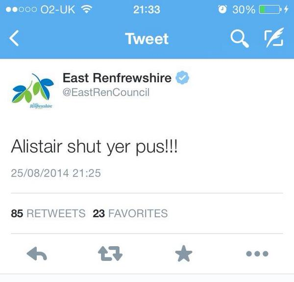 Do you reckon that whoever tweeted this @EastRenCouncil is going to get more than a #skelptarse? #indyref http://t.co/iXBJUkqCcg
