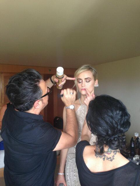 Finishing touches! #bts shimmering #beauty @TaySchilling #hair @RichardMarin #makeup me using @LauraMercier #Emmys http://t.co/b69PWWOF5z
