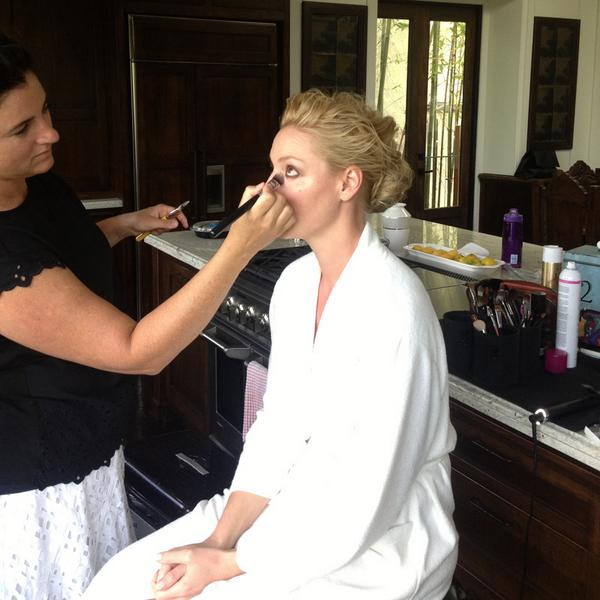 Getting ready earlier! We picked a glamorous location ;) #Emmys http://t.co/c6bRjv5xp8