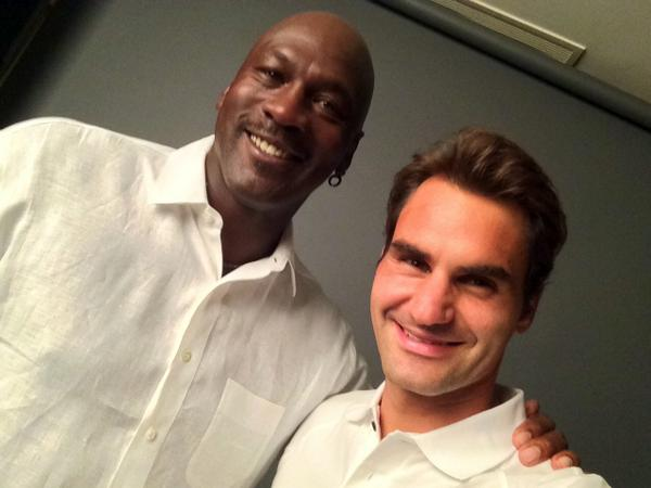 Photo of Michael Jordan  & his friend Roger Federer