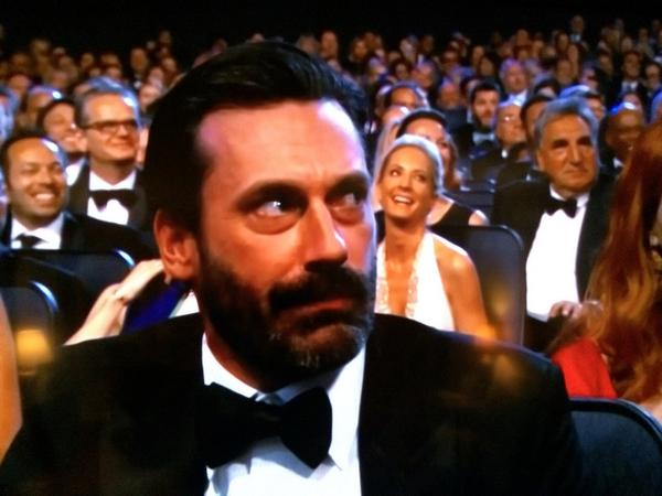Best Jon Hamm Moment of the Emmy's #ThusFar #JonHammBestActor http://t.co/P22ozRUAYy