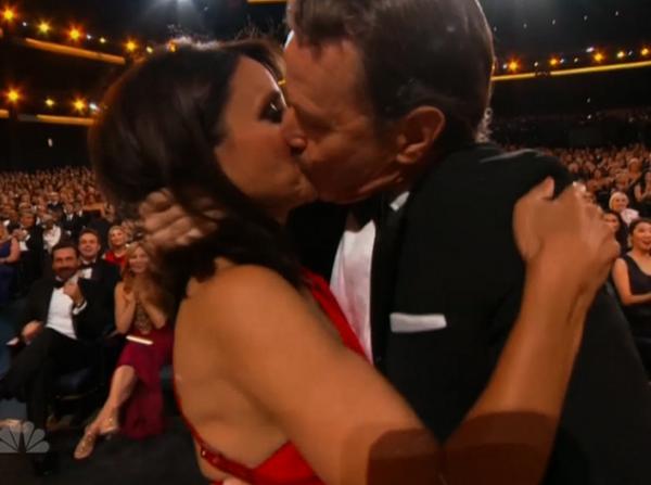 So this happened. Watch Julia Louis Dreyfus swap spit w/ Bryan Cranston: http://t.co/gtAG9wzlQv http://t.co/4lUHmIzPBt