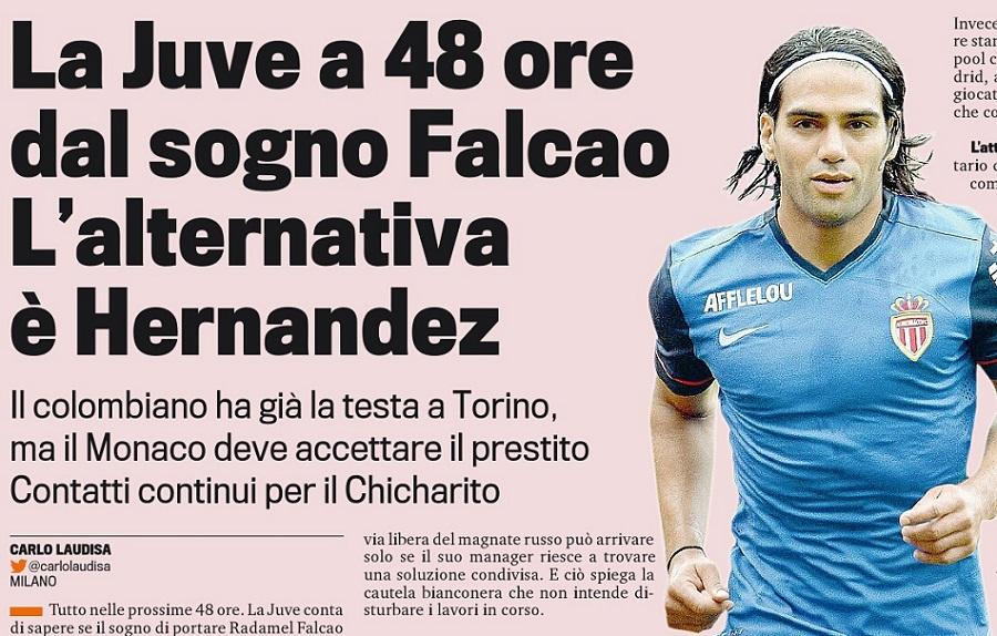Juventus aim to sign Monacos Falcao, AC Milan close in on Chelseas Torres [Gazzetta Dello Sport]