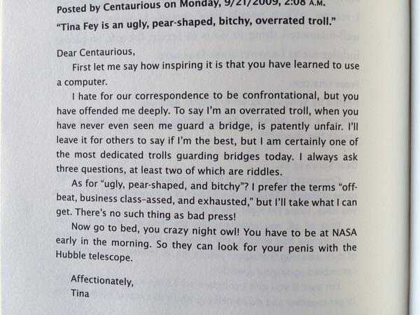 """And this is why I adore so : Tina Fey replies to an online commenter.... http://t.co/RihhgCUv80"""""""