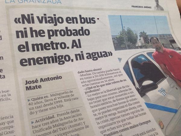 Al enemigo ni agua… Y este individuo preside los autónomos del Taxi y es vicepresidente de la federación andaluza http://t.co/QWNcFl5vw4