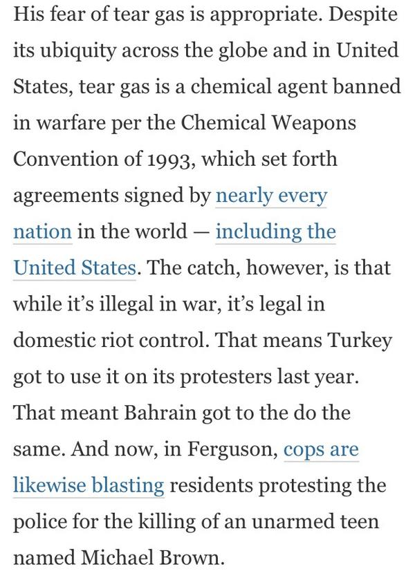 The Tear Gas Paradox: Banned in warfare, legal at home http://t.co/DUHpw0Q6Cu /via @notjessewalker http://t.co/v6Ji4bXY9o