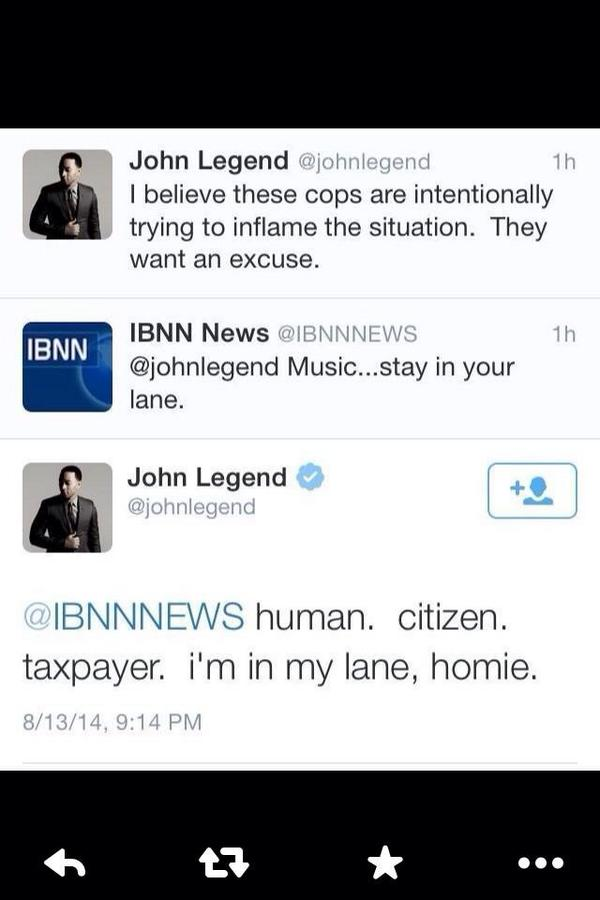 Much respect to @johnlegend for the way he handled this. #johnlegend #IBNNNews #MikeBrown #Ferguson #STL http://t.co/CFePBq7NOv