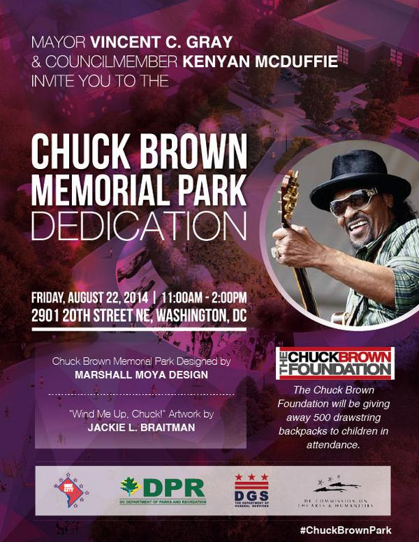 All Chuck Brown Fans need to be at the Ribbon Cutting for Chuck Brown Memorial Park August 22nd! #ChuckBrownPark http://t.co/77YkOSSrJm