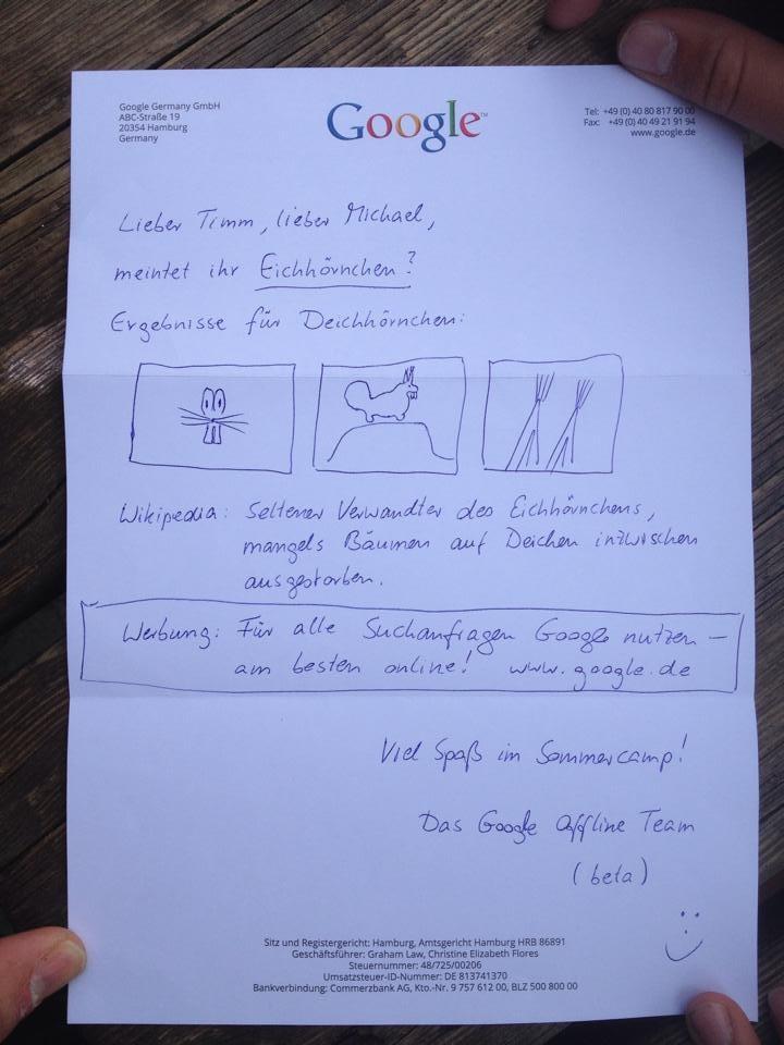 Google Offline Team versendet Suchergebnisse per Post
