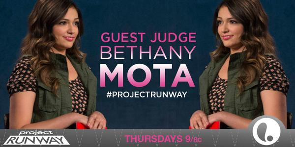 .@YouTube sensation @BethanyMota brings her cuteness to the runway TONIGHT! #ProjectRunway http://t.co/RmV1jLQQsf