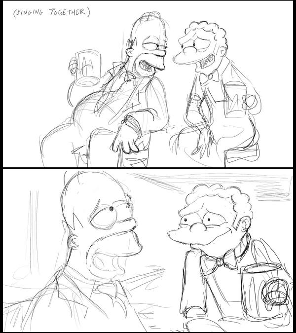 I suppose I can show this sketch of Homer & Moe in an upcoming episode -- http://t.co/TV3WFCvEYj