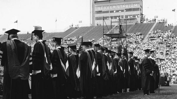 #TBT Commencement at Beaver Stadium, 1967. This weekend 3,142 students graduate at summer commencement! #PSUgrad http://t.co/6BE8DUZoWk