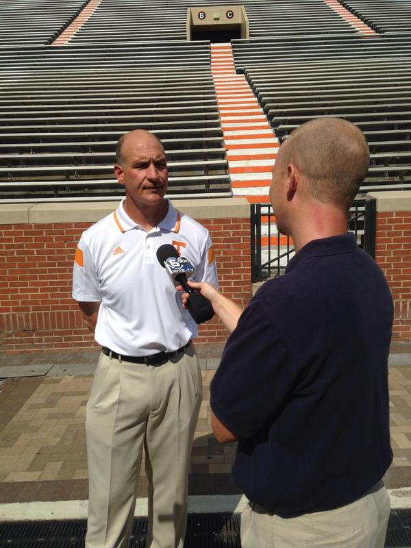Here's @UTCoachJancek doing an interview with @PrenticeElliott here at Media Day http://t.co/AgsCkGW5CR