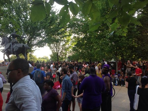 Big crowd at Meridian Hill for the moment of silence. Very diverse http://t.co/9Vn0XJRQsD