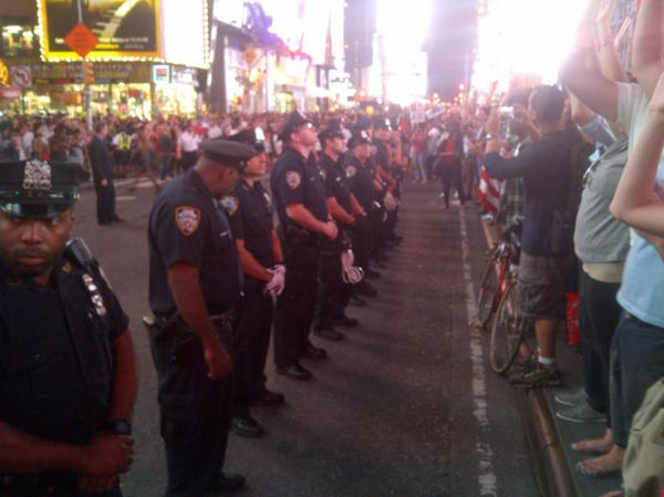 """The NYPD declares """"level 2 mobilization"""" in response to protest at Times Square (photo via Peter Gerber) http://t.co/C2zqlW8tBP"""
