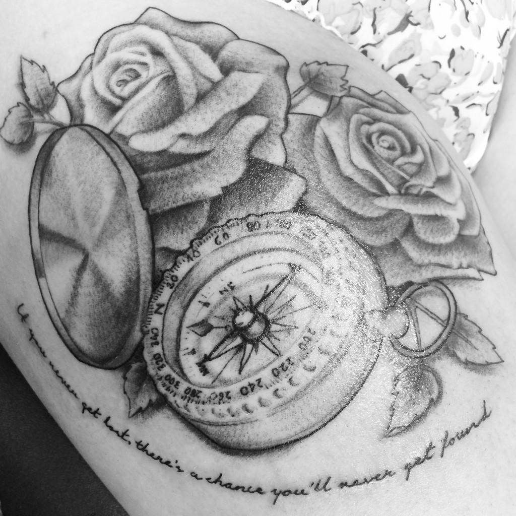 """Tattoo Quotes Compass: Melissa On Twitter: """"""""@ink_pixie: #rose #compass #quote"""