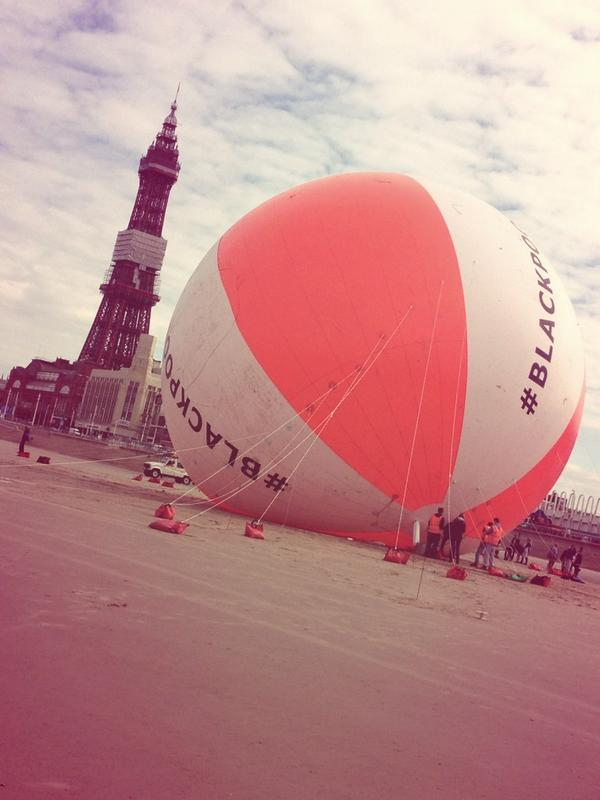 We did it! See the world's biggest beach ball tower above Blackpool beach!!  #blackpoolsback http://t.co/k2gR69eaZo