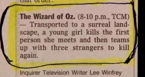 RT @Pandamoanimum: The Wizard of Oz premiered 75 years ago today.  So here's probably the best synopsis of it again. http://t.co/IQEi7dtxqn