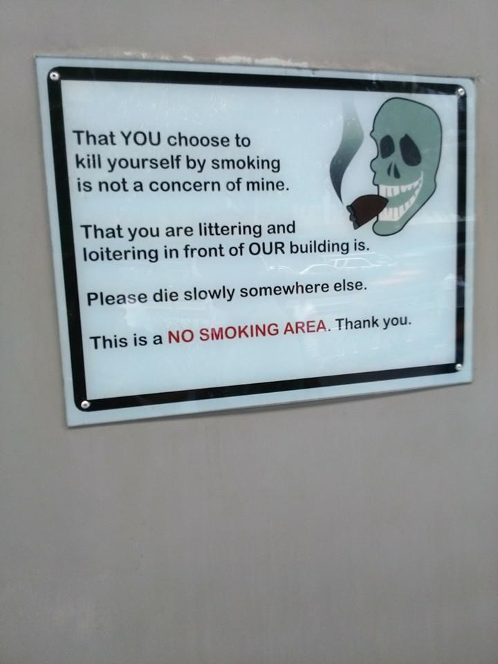 Now here's a different 'no smoking' sign that I bet you've never seen before. http://t.co/zWGvd7oOfp