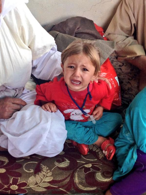 Little #Yazidi girl started screaming when our cameraman walked into the shelter because she thought he was #ISIS :( http://t.co/oha2J9ENcn