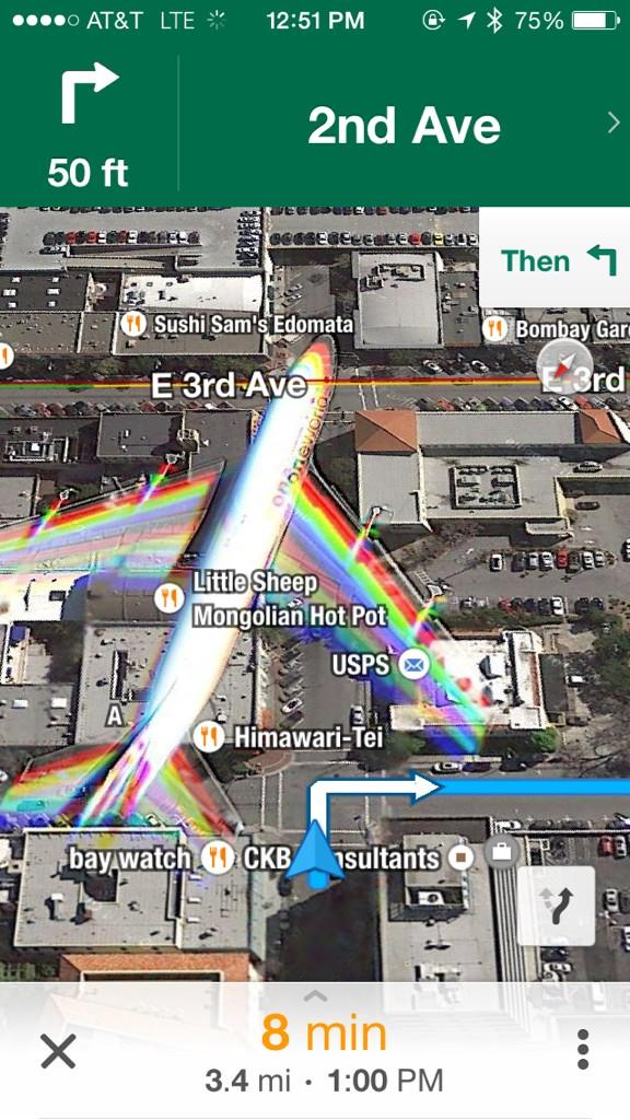 Hey @googlemaps, thanks for navigating me around the plane in downtown San Mateo! #airtraffic http://t.co/XDwv05w3Th