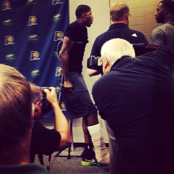 Paul George spoke with the media Friday.  (YAHOO Sports)