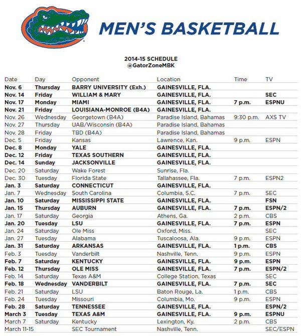 Gators Basketball Schedule >> 2014 15 Mens Basketball Schedule Florida Gators Football