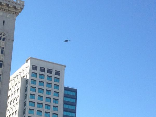 2 choppers already circling overhead in Oakland but no protests in sight, as far as I can tell http://t.co/7WlyI844Z9
