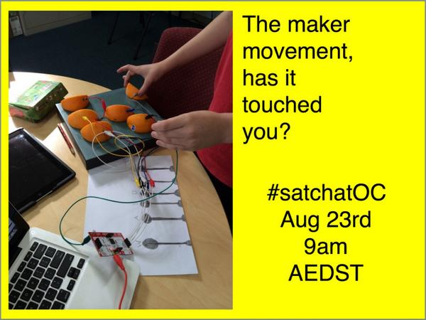 """@jjash: #satchatoc @jjash: chatting about makers &maker movement http://t.co/xV0NkA7rAd hope you'll come & share in 45mins"" @bnighrogain !!"