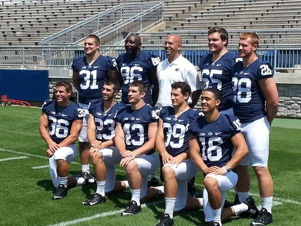 .@coachjfranklin with the 9 @PennStateFball graduates who return for 2014. #PSUgrad. http://t.co/YrURkdqICU
