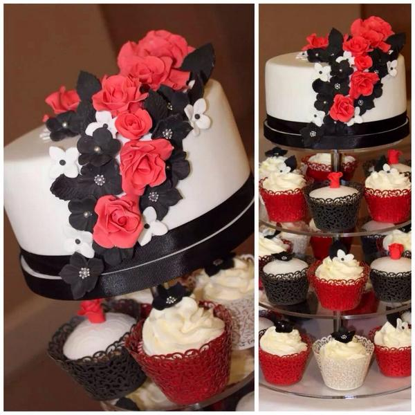 Rachel Radlinski On Twitter Red White Black 1 Tier Wedding Cake With Cupcakes Http T Co Zrjkijhybq