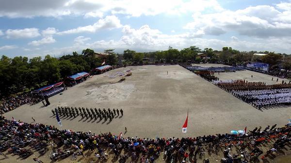Upacara 17 Agustus 2014 di Dadaha Kota Tasikmalaya, di foto oleh pesawat Drone
